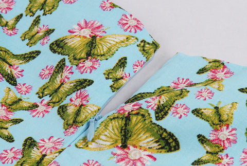 Mint Butterfly Print Vintage Dress