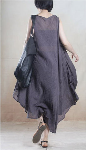 Linen Dress in Gray