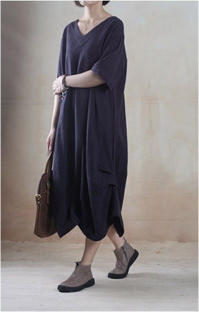 Linen Dress in Navy Blue