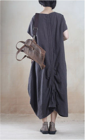 Linen Dress in Dark Gray