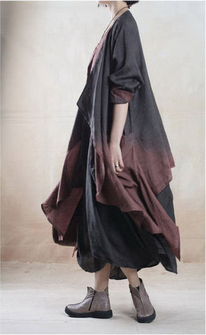 Linen Dress and Jacket Set ( Two Piece) in Black and Brown