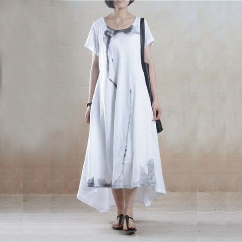 Linen Dress with Batik Print in White