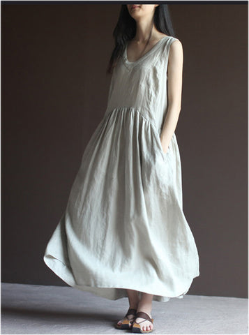 Linen Short Sleeve Dress in White