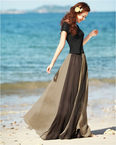 Long Chiffon Skirt in gradually changing in