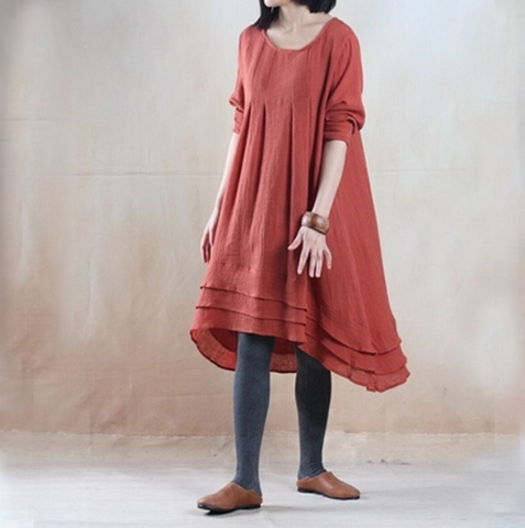 Orange Red Cotton And Linen Long Sleeve Maxi Dress