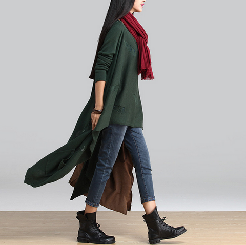 Green Asymmetric Hollow Out Loose Sweaters