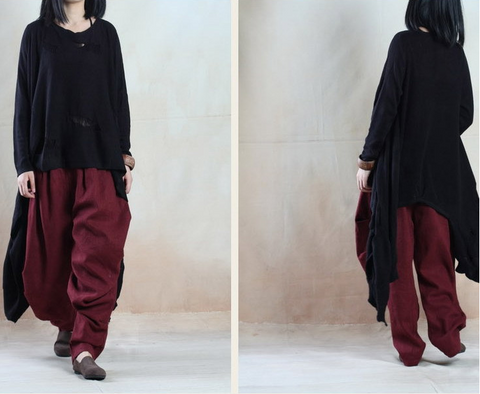 Black Asymmetric Hollow Out Loose Sweaters