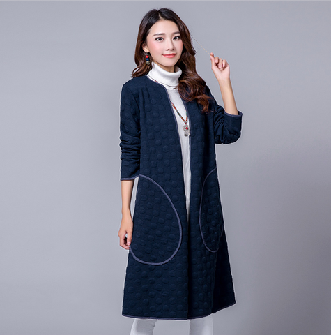 Navy Blue Big Bag Long Coat
