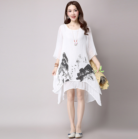 White Ink Printing Loose Dress