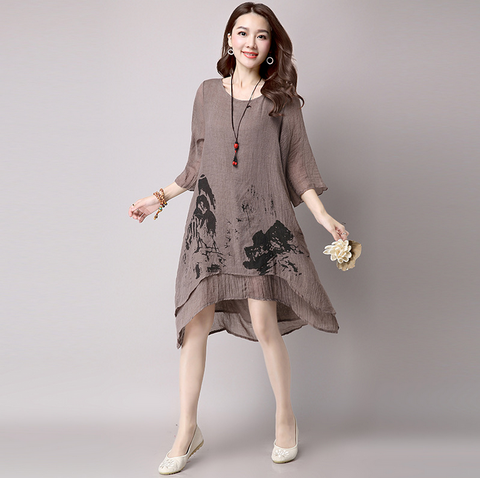 Brown Ink Printing Loose Dress