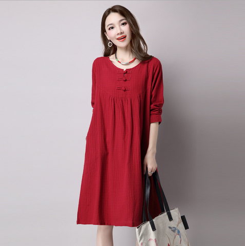 Bordeaux Red Button Loose Dress