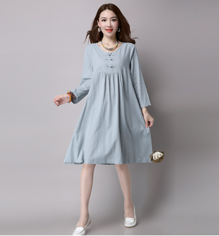 Light Green Button Loose Dress