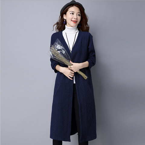 Navy Knitted Cardigan Coat