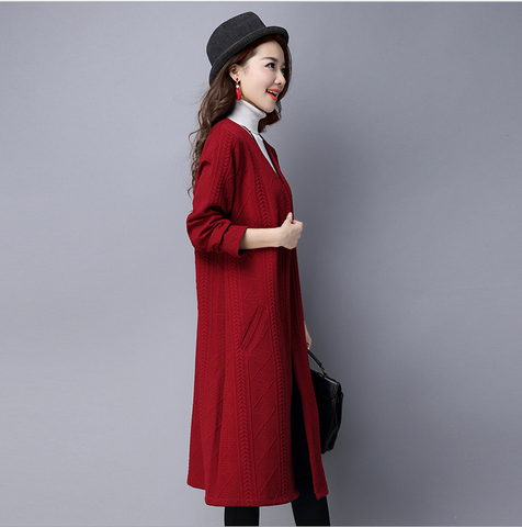Red Knitted Cardigan Coat