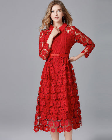 Red Collared Lace Dress