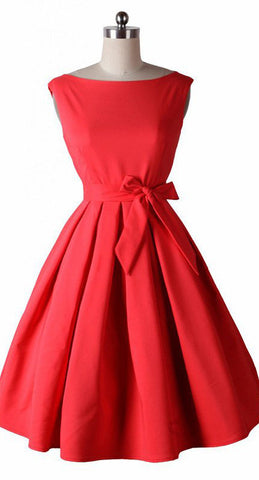 Red Open Shoulder Vintage Dress