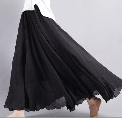 Dance with wind Linen Skirt - Black