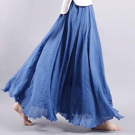 Dance with wind Linen Skirt - Blue