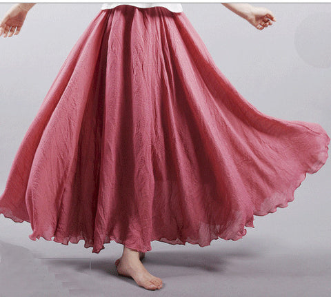 Dance with wind Linen Skirt - Rose