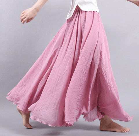 Dance with wind Linen Skirt - Pink