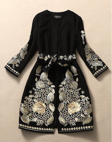 Belted Black Embroidered Wool Coat Jacket