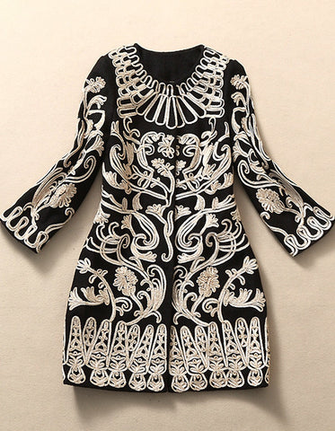 Black Embroidered Wool Coat Jacket