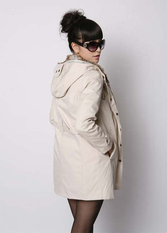 Beige Hooded Faux Fur Wool Coat Jacket Outwear