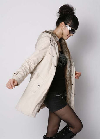 Hooded Faux Fur Wool Coat Jacket Outwear