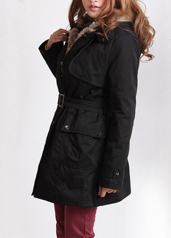 Black  Hooded Faux Fur Wool Coat Jacket outwear