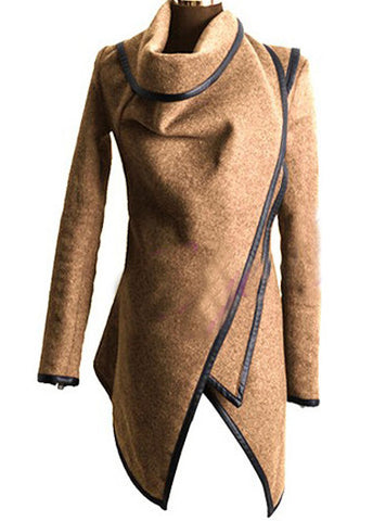 Beige Wool  Asymmetric Coat