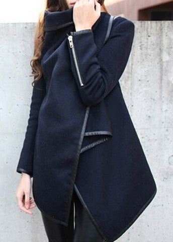 Navy Blue Wool  Asymmetric Coat
