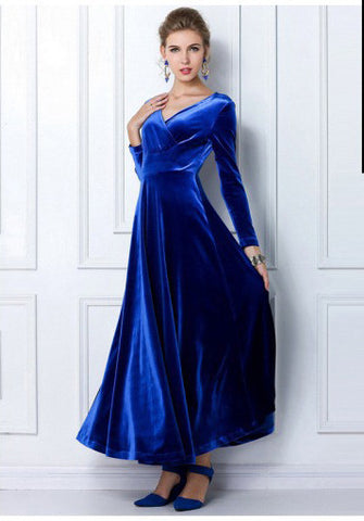 Royal Blue Long Sleeve Velvet Maxi Dress