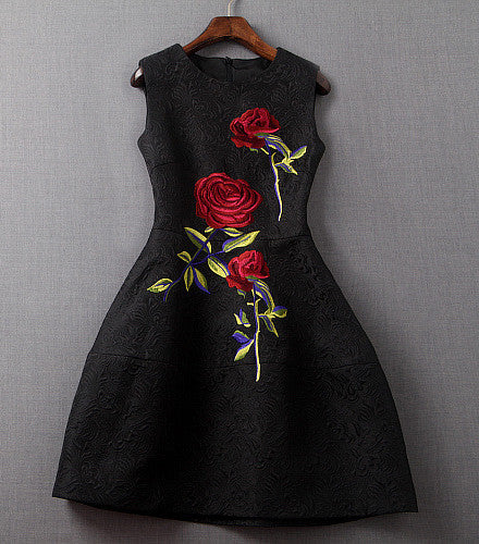 Black embroidered rose dress lily co
