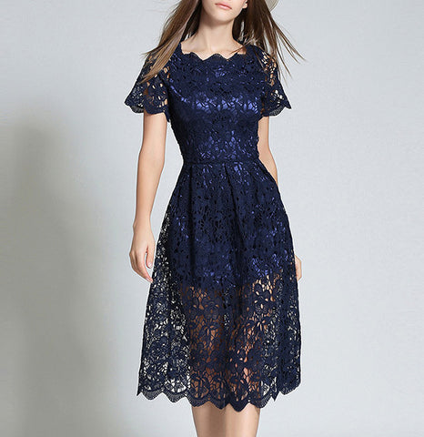 Navy Blue Lace Midi Dress