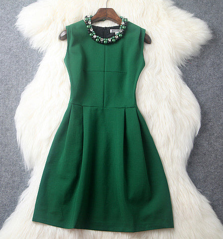 Beaded Green Mini Dress