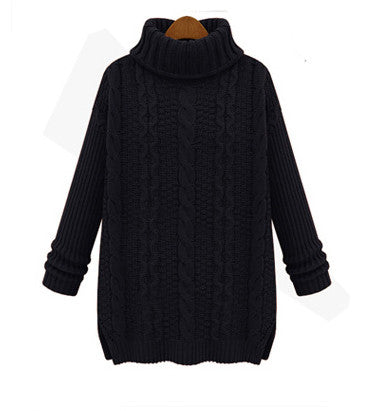Long Cabled Sweater in Black