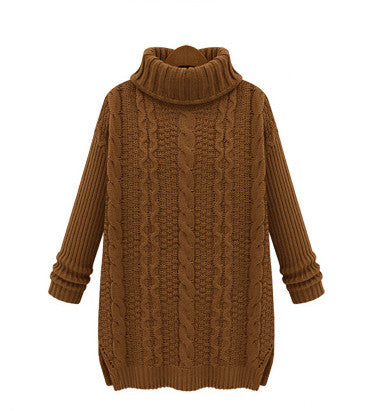 Long Cabled Sweater in Khaki