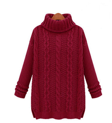 Long Cabled Sweater in Red