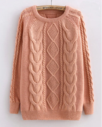 Cabled Sweater in Pink
