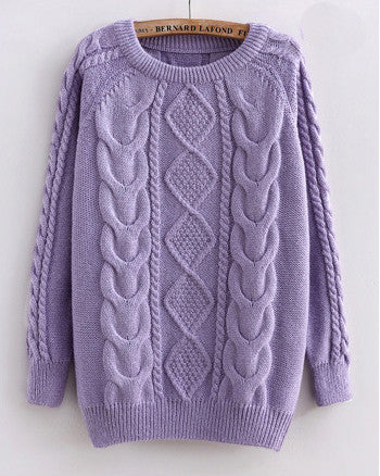 Purple Cabled Sweater