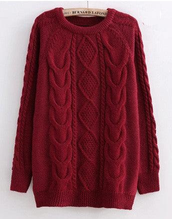 Cabled Sweater in Burgandy