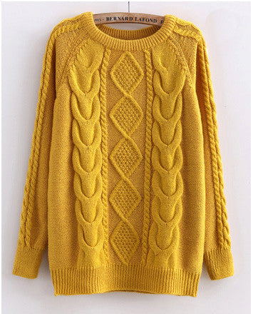 Yellow Cabled Sweater