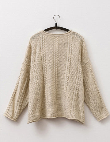 Cabled loose Sweater cardigan in Beige