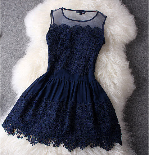 Lace Dress In Navy Blue Lily Amp Co