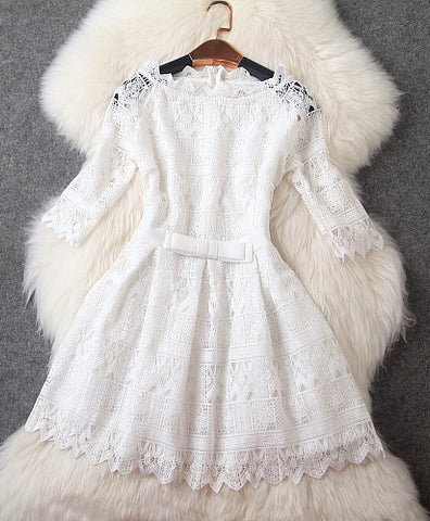 Lace Dress with Bow in White