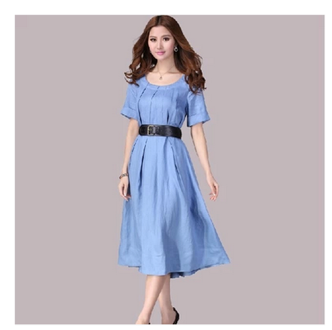 Linen Short Sleeve Dress in Lightt Blue