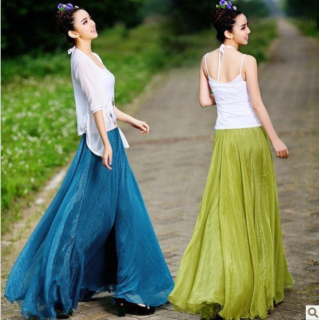Long Chiffon Skirt in Light Green