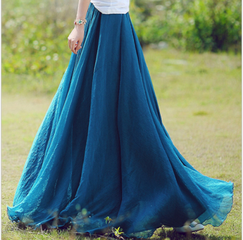 Long Chiffon Skirt in Green
