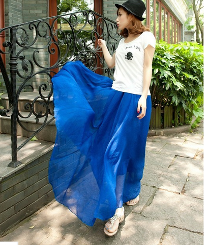 Long Chiffon Skirt in Blue
