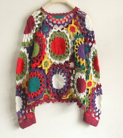 Vintage Handmade Crochet Long Sleeve Top